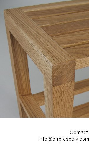 Detail of oiled oak bench designed by Brigid Sealy